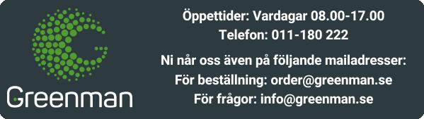Öppettider: Vardagar 08.00-17.00   Telefon: 011-180 222 För beställning: order@greenman.se För frågor: info@greenman.se